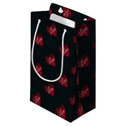 Love Black Red Abstract Heart Design Small Gift Bag - black gifts unique cool diy customize personalize