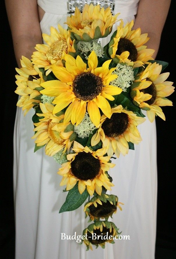 Turquoise brown and sunflowers wedding | Sunflower Cascade Wedding Flower Package