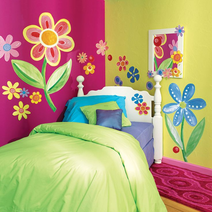 25 best ideas about kids murals on pinterest wall - Flower wallpaper mural ...