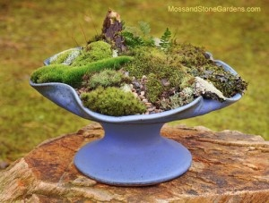 I did this in my unused iron birdbath, but the mosses drowned every time it rained.  How to provide drainage?  I like the way this mounds and the use of pebbles.