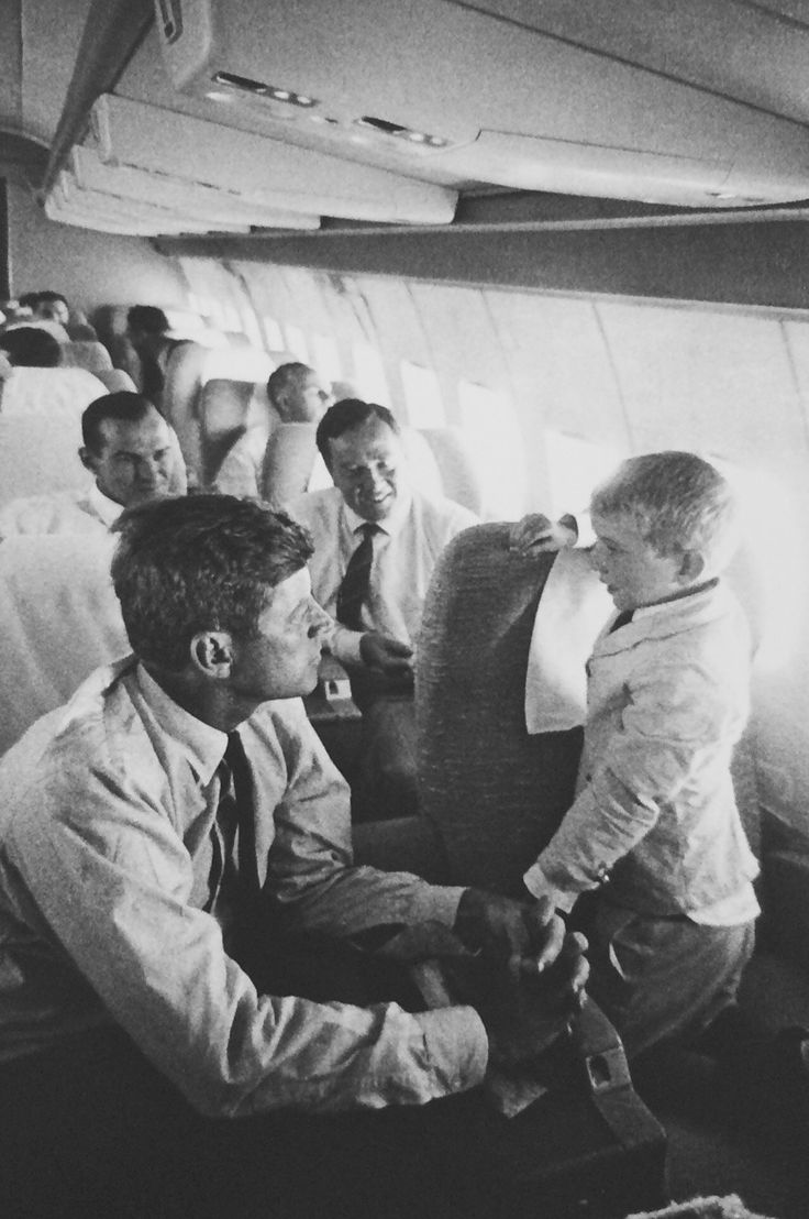 July 17, 1960: Members of the Kennedy family flying to Boston.