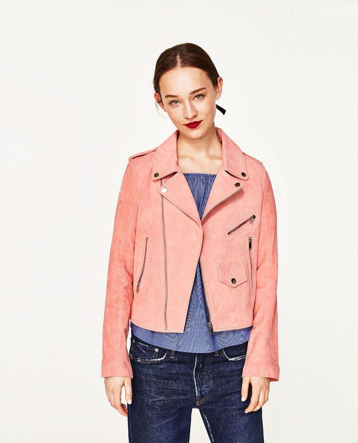 ZARA (inditex) pink SUEDE JACKET biker jacket 4369/041 SS17 Wildleder jacke L40 in Kleidung & Accessoires, Damenmode, Jacken & Mäntel | eBay!