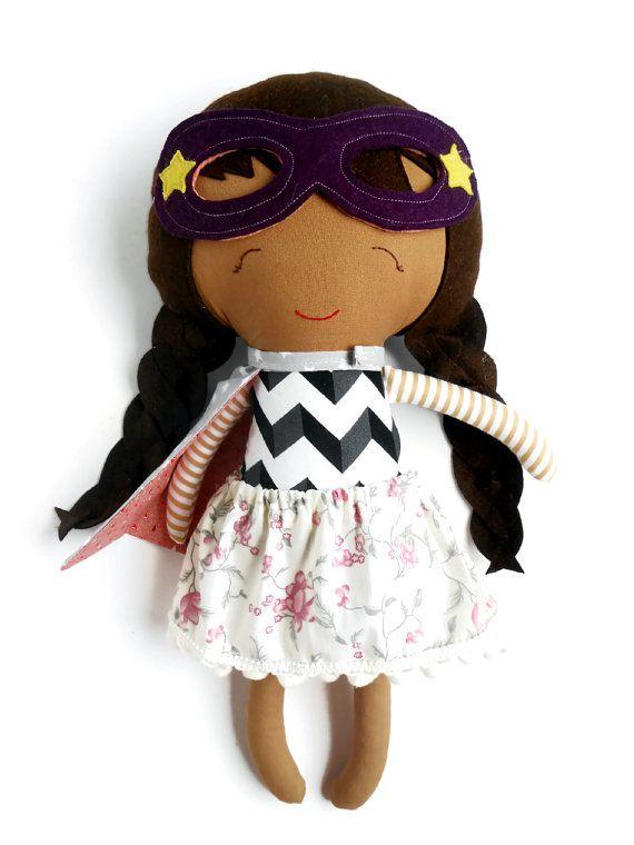 Asian superhero girl rag doll toy by  La Loba Studio #rag_doll #superhero #superhero_girl #dolls #handmade_doll #asian_doll #superhero #ethnic_doll