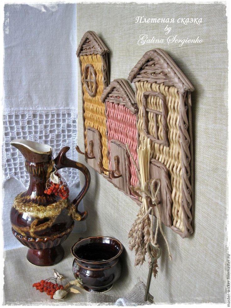 """Купить Ключница плетеная """"Веселые домики!"""" - ключница, ключница ручной работы, ключница настенная"""