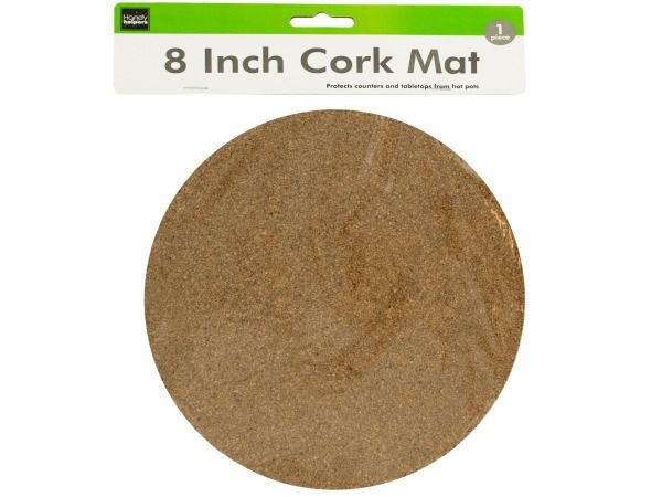 "Large Cork Mat, 24 - Great for resting hot pots and plates on, this Large Cork Mat features a durable round mat made of natural cork to absorb heat and condensation and protect counters and tabletops. Measures approximately 8"" in diameter and 1/8"" thick. Comes packaged in a poly bag with a header card.-Colors: brown. Material: cork. Weight: 0.1889/unit"