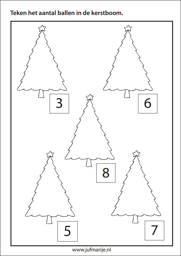 Werkblad rekenen: Teken het aantal ballen in de boom
