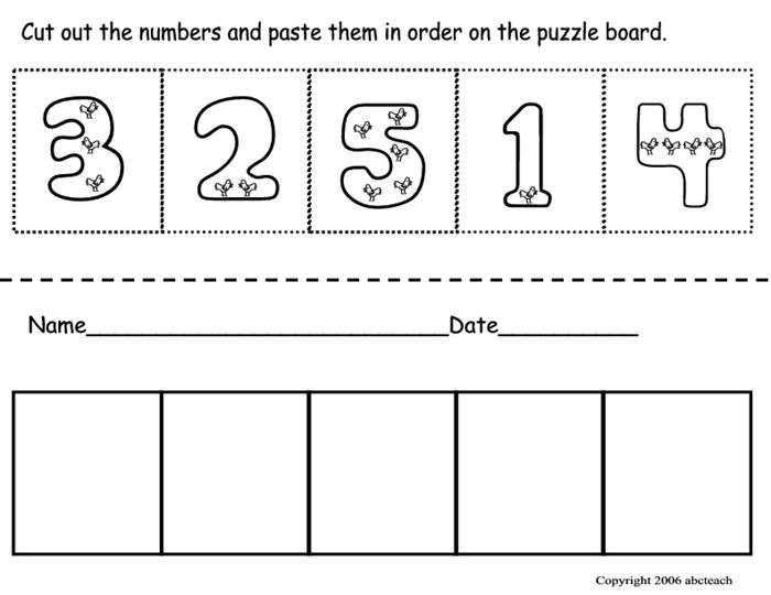 Cut Paste Number Ordering Pre School Ordering