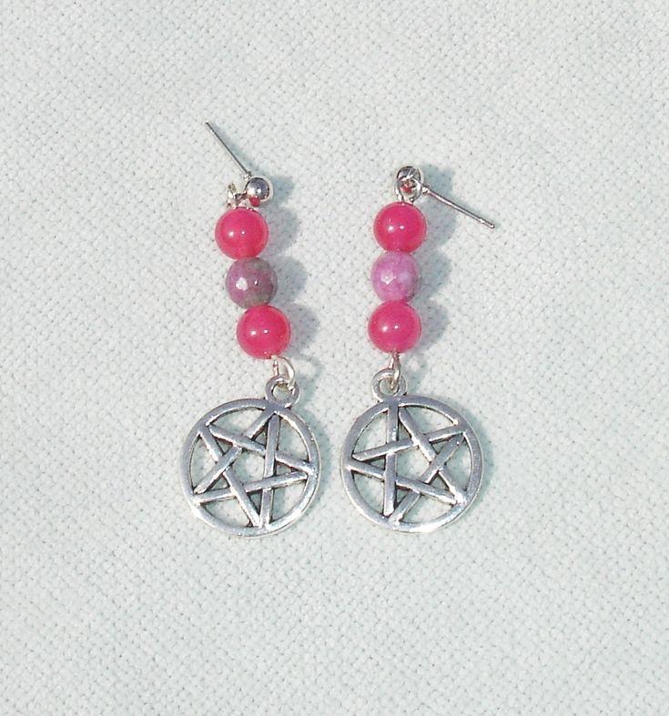 Pink Gemstone Beaded Pentagram Post Earrings