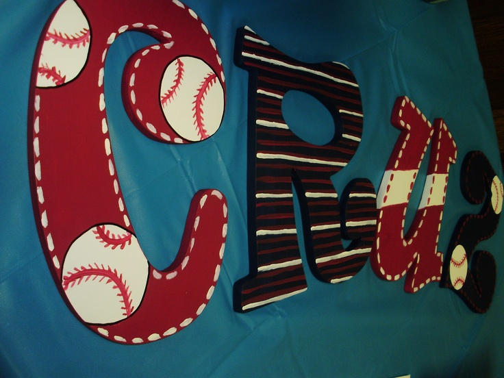 I especially love that it is my boys name!  letters for baseball baby room
