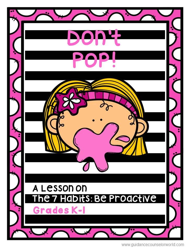 Guidance lesson for The 7 Habits: Be Proactive for Grades K-1. Teach kids to be successful by being proactive in school and in life. This follows Stephen Covey's, Leader in Me program for The 7 Habits.   NEVER create another guidance lesson again with our aligned K-6 guidance lessons!  We've got more GUIDANCE LESSON Plans, all which are aligned for grades K-6! Each lesson plan has a Word doc for each grade level and a PDF that includes all interactive activities and printables.