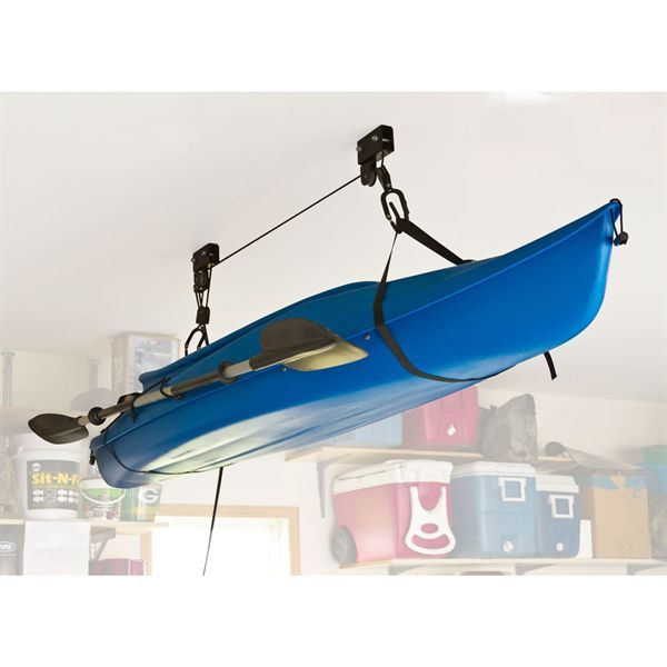 Lift your kayak or canoe off the ground for storage allowing you to park your car underneath. The kayak hoist has a 100 lb weight limit and a 1 year warranty.