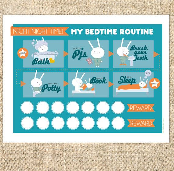 Printable Bedtime Routine Chart for Boys, Girls, Toddlers, kids. Blue Bunny Template PDF, Instant Download