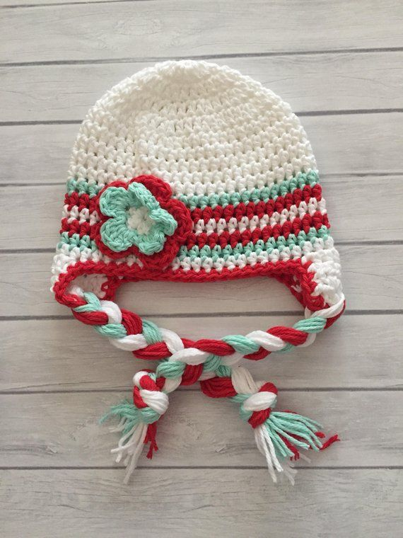 37d58e9daf0 Baby girl winter hat crochet earflap hat girls winter hat