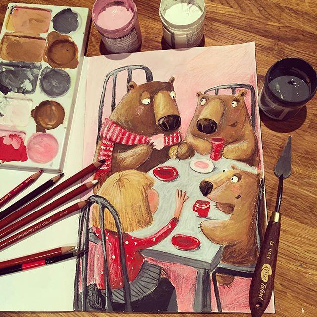 """Day 7 of our marathon. Tea party with bears. Drawn with everything I could find, but mainly with gauche and pencils.  день 7 (или уже 8 ) нашего марафона - чаепитие. У меня Мага и медведи. Маша им чего-то вчесывает. Малому ещё интересно, а старшие переглядываются и думают - """"вот это заливает"""" #денькрокодила #иллюстрация #рисунок #art #drawing #illustration #bears"""