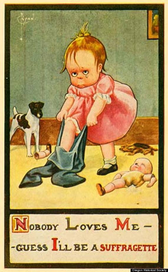 propagande qu'on pouvait voir dans les journaux entre 1880 et 1900 contre les Suffragettes, ces femmes qui réclamaient le droit de vote et plus largement de simples droits.