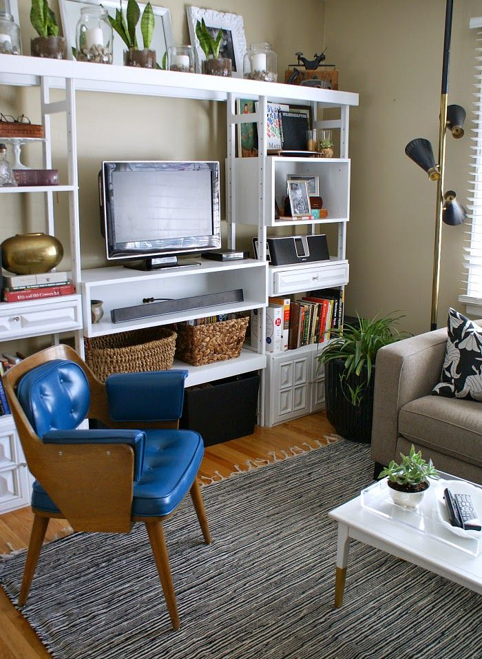 modern eclectic living room makeover with lots of DIYs and