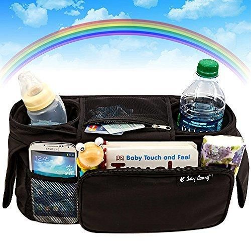 Stroller Organizer Baby Organizers Fits All Strollers Britax Graco Pram City Stroller Maclaren Works Best with Cute Babies Collapsible Frame Folds Design with 2 Deep Drink Holders & 1 Large Zippered Pouch Keep Your Essentials