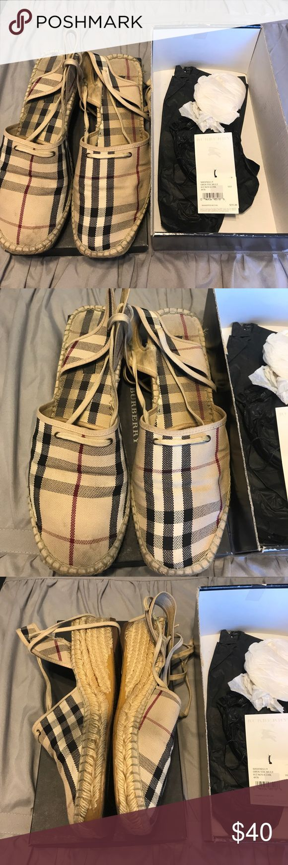 BURBERRY summer tie up sandals OPEN TO OFFERS!!! Gently used tie up BURBERRY summer sandals! Burberry Shoes Sandals