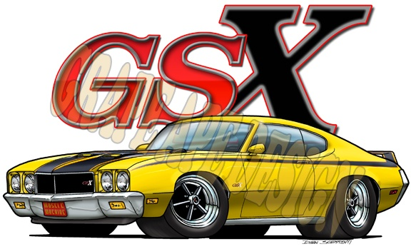 1970-72 Buick Skylark GSX muscle car art cartoon illustration