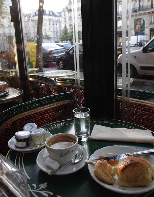 Cafe de Flore, St Germain des Pres  We ate here on our honeymoon, sat at the corner table right there by the window after spending the morning at the legendary cemetery across the street.