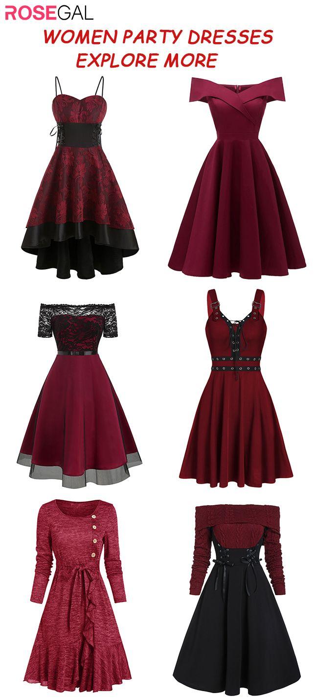 Rosegal Vintage Dress Red Wine Color Dresses Party Dress Ideas Old Fashion Dresses Vintage Red Dress Wine Colored Dresses [ 1428 x 648 Pixel ]