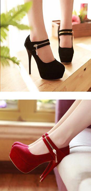 Fashion Zipper and Sexy High Heel Design Pumps    dresslily.com