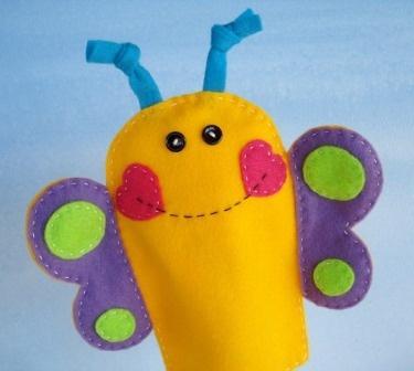 Elephant, Butterfly & Bee Felt Hand Puppets