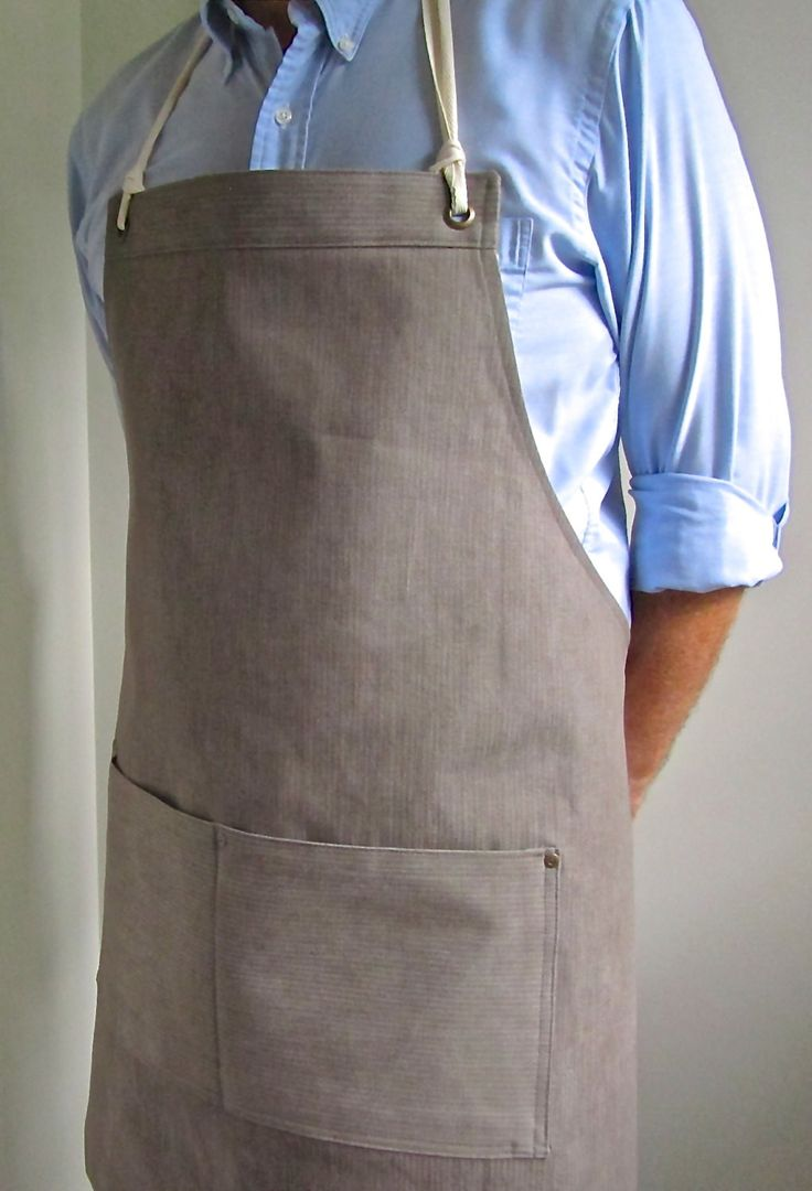 Full Denim Apron Men Italian Brown Denim Restaurant