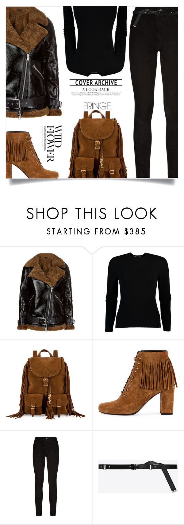 """""""Shimmy Shimmy: Fringe"""" by tina-abbara ❤ liked on Polyvore featuring AllSaints, Michael Kors, Yves Saint Laurent and Paige Denim"""