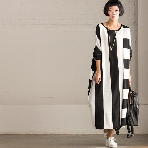 Korean Style Maxi Size Loose Knitting Stripe Bat Sleeve Dress Casual Tops Women Clothes Q7121A