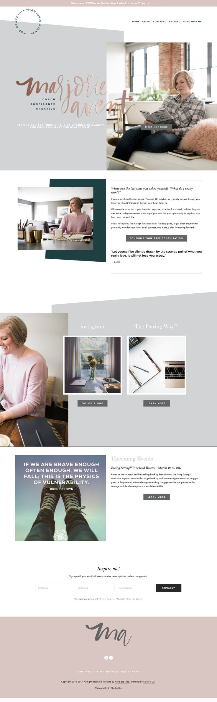 Custom Squarespace Site Design for Marjorie Avent