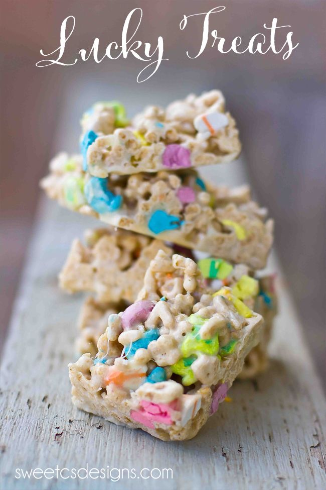 Homemade Lucky Charms Treats - these are SO good! I thought they would be too sweet, but they are rich and buttery. Perfect for St. Pats!