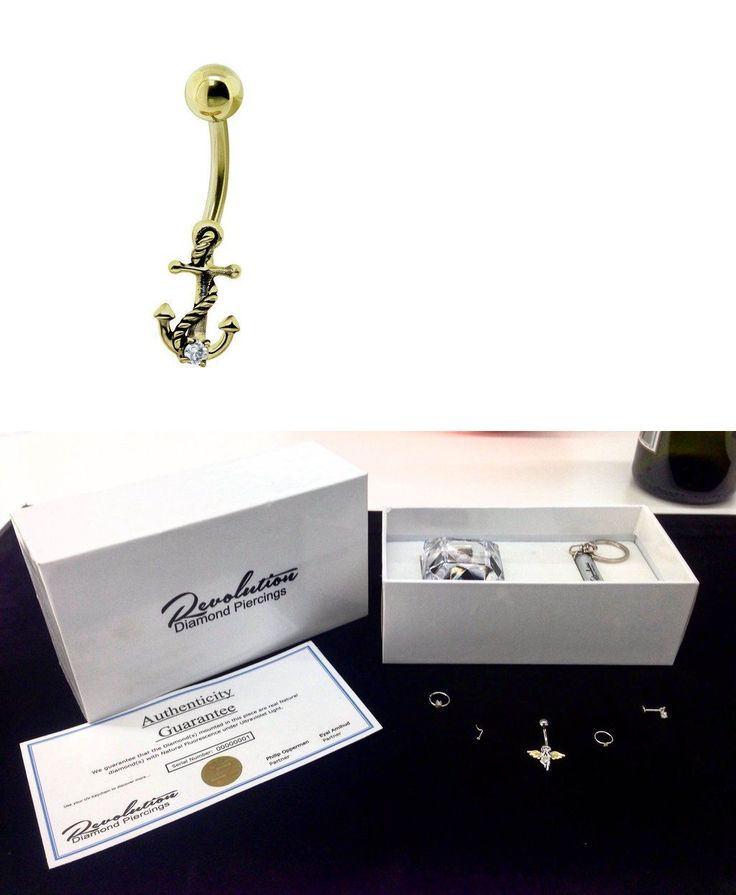 Belly Rings 64499: Revolution Piercings 1.7Mm Fluorescent Diamond Anchor Belly Gold Plated Gift BUY IT NOW ONLY: $79.99