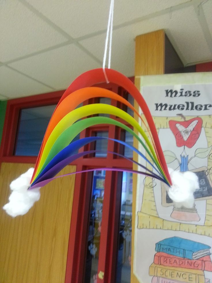 "Rainbow activities:  Rainbow craft. Simply cut strips of rainbow colored paper.  Children gently bend, glue and add cotton ball ""clouds"".  For writing practice, have students write the color word on each strip, as well as something in the room that's that color. Completed projects look awesome dangling from the ceiling!"