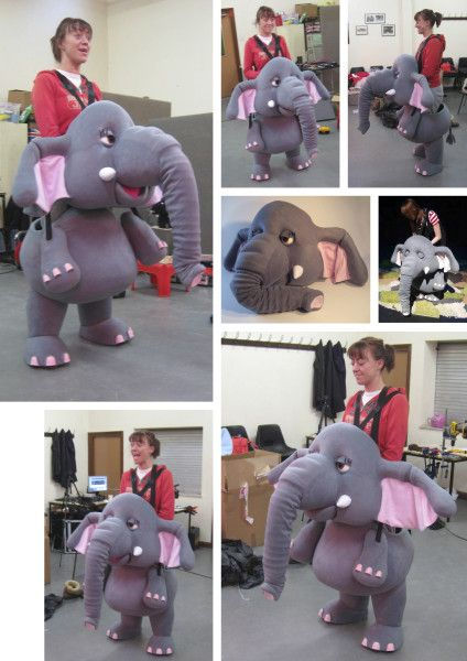 Elephant Puppet/Character Costume for 'The Elephant Bridesmaid.' Touring children's theatre production presented by The People's Theatre Company.