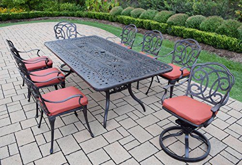 Oakland Living Berkley 9-Piece Furniture Set with 84 by 42-Inch Rectangle Table 6 Chairs 2 Swivel Rockers and Cushions For Sale https://homepatiogarden.net/oakland-living-berkley-9-piece-furniture-set-with-84-by-42-inch-rectangle-table-6-chairs-2-swivel-rockers-and-cushions-for-sale/