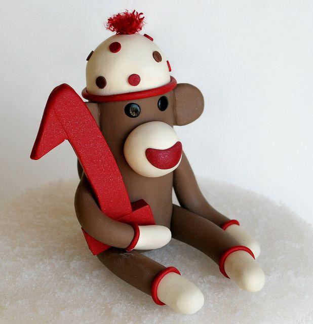 "Small 3"" Smash Cake First Birthday Sock Monkey Cake Topper | Flickr - Photo Sharing!"