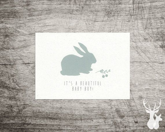Rabbit Illustrated 'Beautiful Baby' Card in Pink by FallowAndRoe