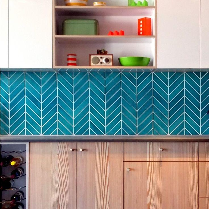 Kiln Ceramic Chevron Teal Agate Blue Green Ceramic Tile