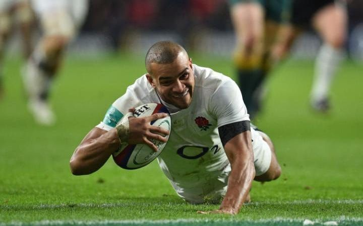 England's centre Jonathan Joseph scores his second try during the international rugby union test match between England and Australia at Twickenham stadium in south-west London