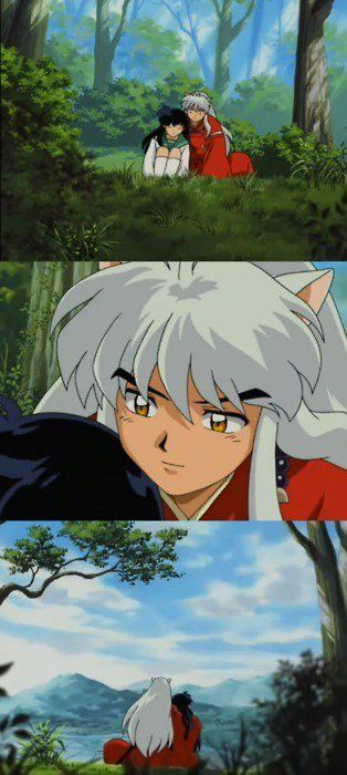 One of my favorite moments in the whole anime. His eyes just speak volumes about his feelings for Kagome. Even he, at that point, can't deny that he has fallen irrevocably in love with her.