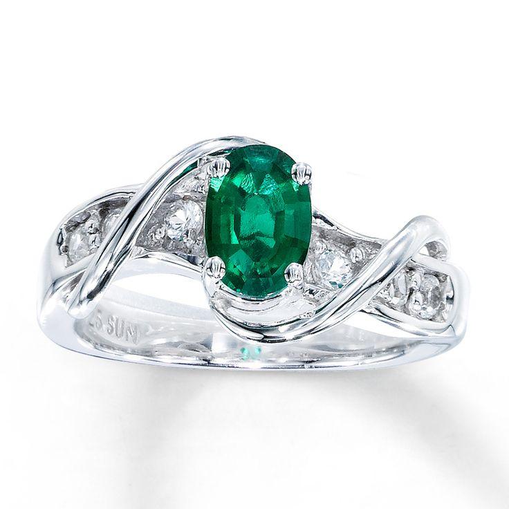 kay jewelers emerald rings | Kay - Lab-Created Emerald Ring Lab-Created Sapphires Sterling Silver