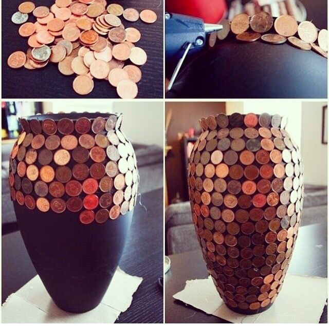 Collect coins from all over the world and decorate some furniture or decoration with them :) DIY HOME