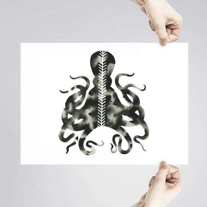 Art Print. Oeuvre de poulpe géométrique. Reproduction de la peinture moderne blanc noir. Tenticals. Vie marine. Chevron. Arête de poisson.Silhouette par GeometricInk sur Etsy https://www.etsy.com/fr/listing/215388390/art-print-oeuvre-de-poulpe-geometrique