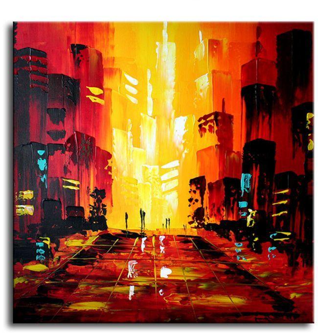 Echt een heel mooi vierkant canvasschilderij.Vooral de kleuren op de achtergrond dat de zon zo door die hoge gebouwen heen schijnt.Het is wat mij betreft echt een top-schilderij eerste klasse.