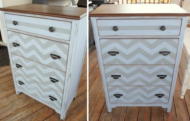 Painted chevron dresser