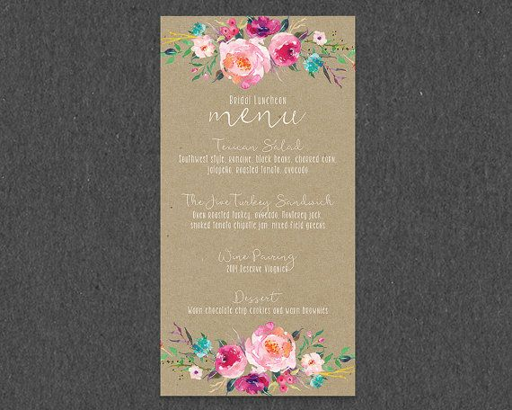 Coordinating Menu for Rustic Floral Bridal Shower Invitation // Floral Kraft Country Bridal Shower, Bridal Shower Menu, Spring Bridal Shower
