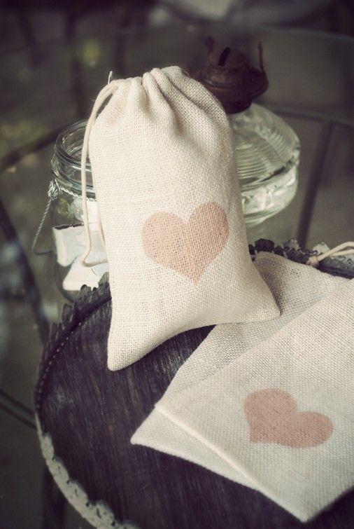 Wedding gift bag ,flower girl bag, wedding favor Ivory Burlap Heart Gift Bag by LilMissi on Etsy, $6.00