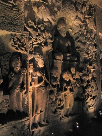 Ancient Buddhist sculpture Ajanta Caves - Maharashtra, India