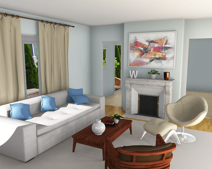 Blue living room living room interior design ideas created for Living room 3d view
